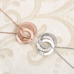 Russian Ring Engraved Necklace Sterling Silver