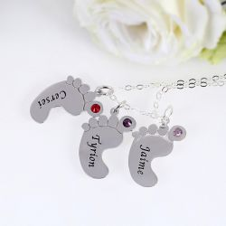 Engraved Baby Feet Family Necklace with Birthstones Sterling Silver