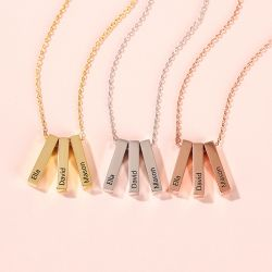 Personalized Vertical Bar Sterling Silver Necklace