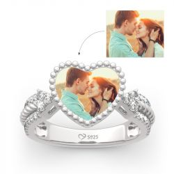 """""""You Are Special"""" Sterling Silver Personalized Photo Ring"""