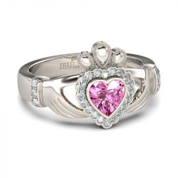 Jeulia Heart Cut Claddagh Ring Set