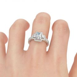 Three Stone Halo Radiant Cut Sterling Silver Ring