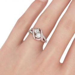 Two Stone Twist Round Cut Sterling Silver Ring