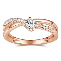 Rose Gold Tone Round Cut Sterling Silver Promise Ring