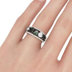 Floral Design Round Cut Sterling Silver Skull Ring