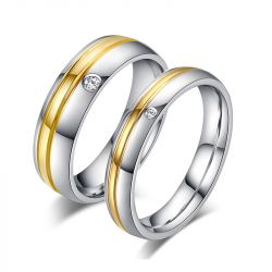 Two Tone Simple Couple Rings Titanium Steel