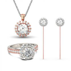 Two Tone Halo Round Cut Jewelry Set