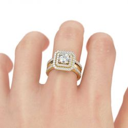 Double Halo Round Cut Sterling Silver Ring Set