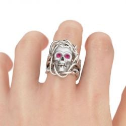 3PC Round Cut Sterling Silver Skull Ring