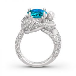 """""""Goddess of the Sea"""" Sterling Silver Mermaid Ring"""