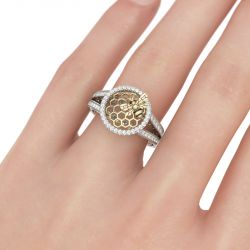 Halo Honeycomb Sterling Silver Ring