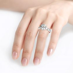 Round Cut Sterling Silver Ring