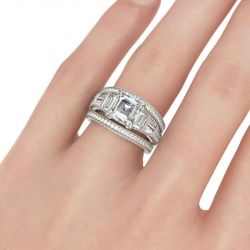 Milgrain Asscher Cut Sterling Silver Ring Set