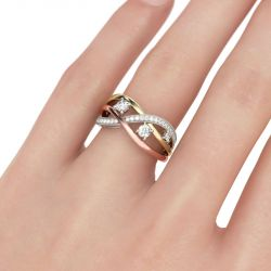 Tri-Tone Round Cut Sterling Silver Women's Band