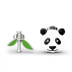 Cute Panda Bamboo Mismatched Earrings