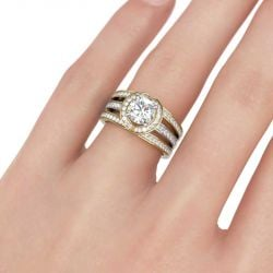 Halo Two Tone Interchangeable Sterling Silver Ring Set