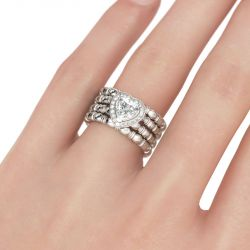 Halo Heart Cut Sterling Silver Ring Set