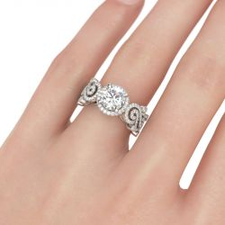 Swirl Design Halo Round Cut Sterling Silver Ring