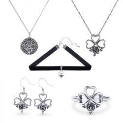 Heart and Rose Sterling Silver Jewelry Set
