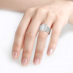 5PC Halo Oval Cut Sterling Silver Ring Set