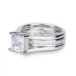Interchangeable Princess Cut Sterling Silver Ring Set