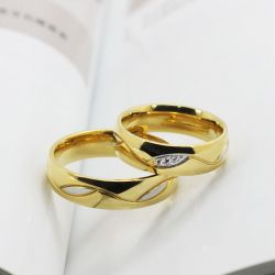 Gold Tone Titanium Steel Couple Rings