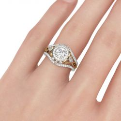 Two Tone Halo Round Cut Sterling Silver Ring