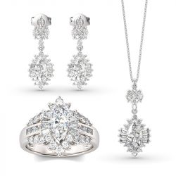 Dazzling Halo Marquise Cut Sterling Silver Jewlery Set
