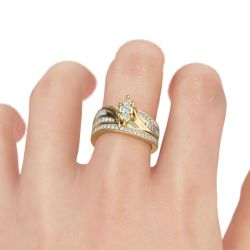 Gold Tone Cluster Round Cut Sterling Silver Ring Set