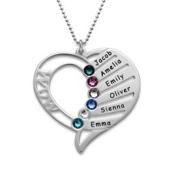 Engraved Heart Necklace With Birthstones Sterling Silver