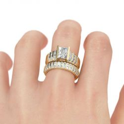 Thick Radiant Cut Sterling Silver Ring Set