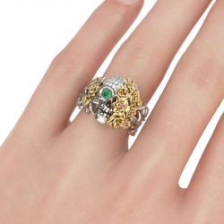 Two Tone Floral Round Cut Sterling Silver Skull Ring