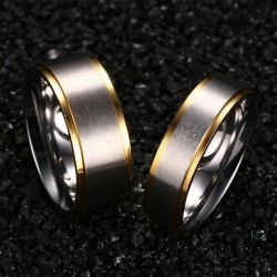 Simple Two Tone Couples Rings Stainless Steel