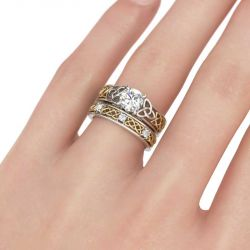 Celtic Knot Round Cut Sterling Silver Ring Set