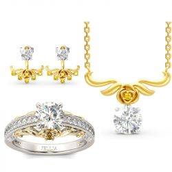 Rose Round Cut Sterling Silver Jewelry Set