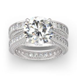 Round Cut Three Sided Pave Sterling Silver Eternity Ring Set