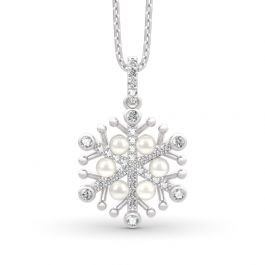 Snowflake Cultured Pearl Sterling Silver Necklace
