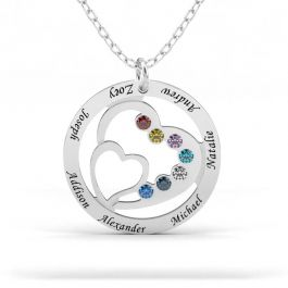 Heart in Heart Family Necklace with Birthstones Sterling Silver
