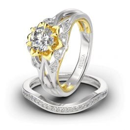 Flower Round Cut Sterling Silver Ring Set
