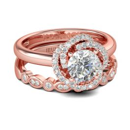 Rose Gold Round Cut Sterling Silver Ring Set