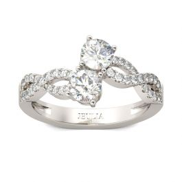 Two-stone Twist Round Cut Sterling Silver Engagement Ring