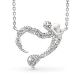 """Ocean's Light"" Sterling Silver Mermaid Gift Necklace for Valentine's Day"