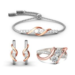 Two Tone Two Stone Sterling Silver Jewelry Set