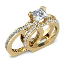 Interchangeable Gold Tone Princess Cut Sterling Silver Ring Set - $159.00
