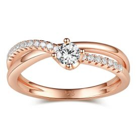 Rose Gold Tone Round Cut Sterling Silver Promise Ring - $89.00