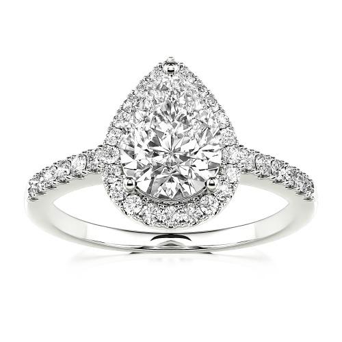 Jeulia Moissanite Halo Pear Cut Gold Ring