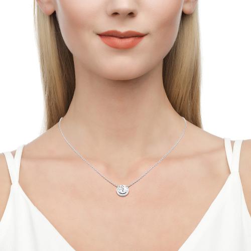 Jeulia Moissanite Halo Round Cut Gold Necklace