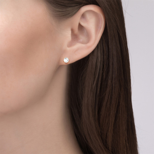 Jeulia Moissanite Round Cut Gold Stud Earrings