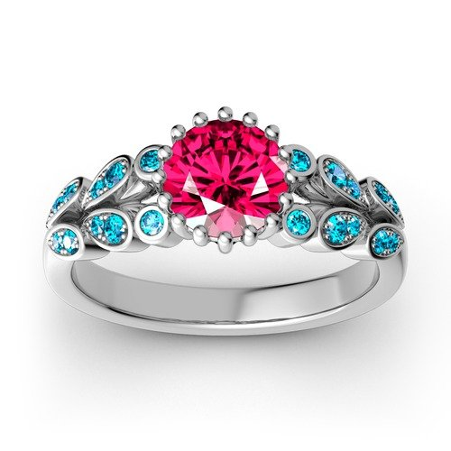 Jeulia Flower Design Round Cut Sterling Silver Ring