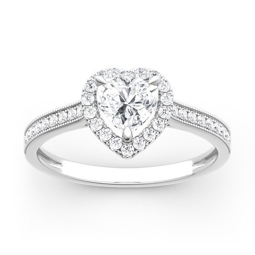 Moissanite Halo Heart Cut Gold Ring